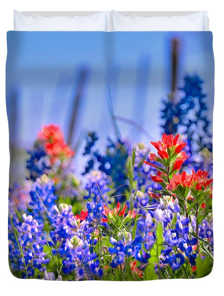 Duvet Cover featuring the photograph Bluebonnet Paintbrush Texas  - Wildflowers Landscape Flowers Fence  by Jon Holiday