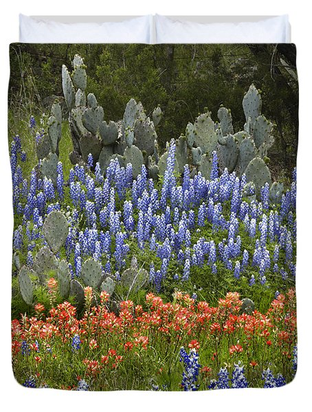Duvet Cover featuring the photograph Bluebonnets Paintbrush And Prickly Pear by Tim Fitzharris