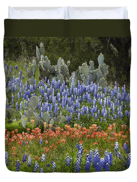 Bluebonnets Paintbrush And Prickly Pear Duvet Cover