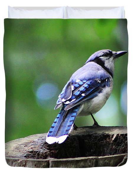 Duvet Cover featuring the photograph Bluejay by Alyce Taylor