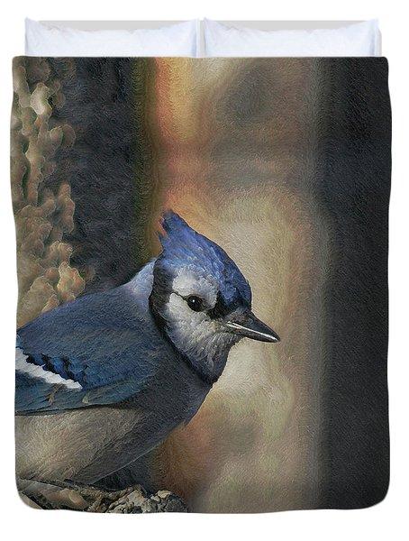 Bluejay Digitally Enhanced Duvet Cover by Ernie Echols