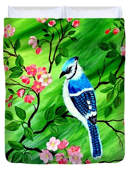 Duvet Cover featuring the painting Bluejay by Fram Cama
