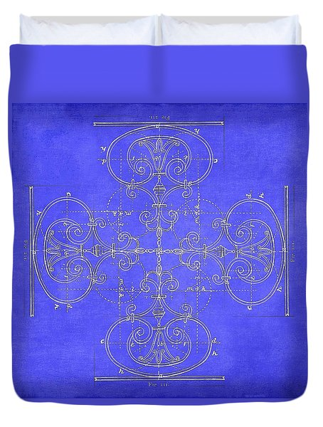 Duvet Cover featuring the photograph Blueprint Maltese Cross by Suzanne Powers