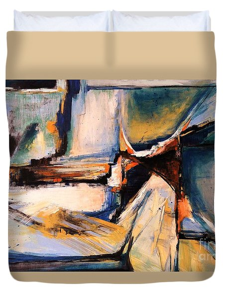Blues And Orange Duvet Cover