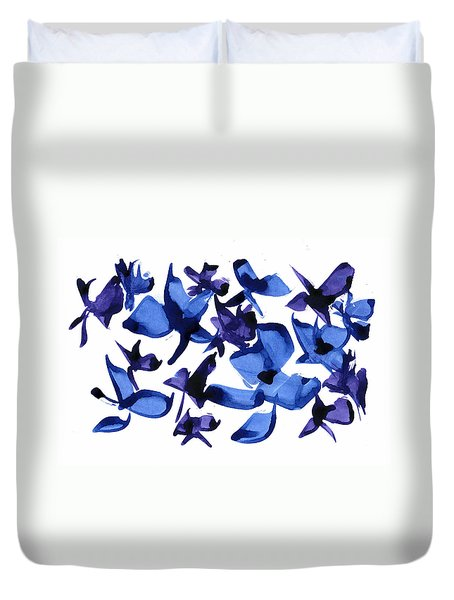 Duvet Cover featuring the mixed media Blues And Violets by Frank Bright
