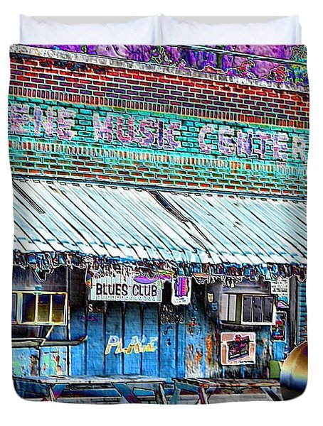 Blues Club In Clarksdale Duvet Cover