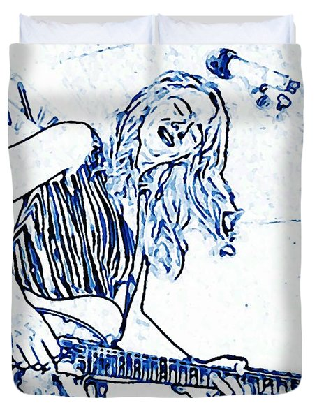 Blues In Blue Duvet Cover by Chris Berry
