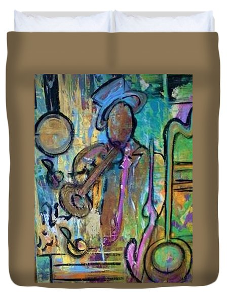 Blues Jazz Club Series Duvet Cover by Kelly Turner
