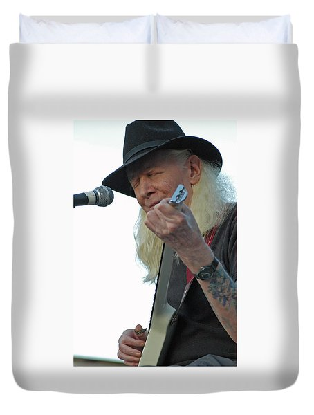 Bluesman Johnny Winter Duvet Cover by Mike Martin