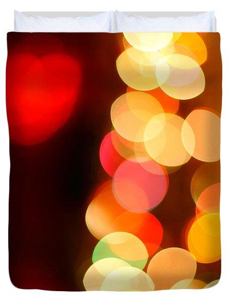 Blurred Christmas Lights Duvet Cover by Gaspar Avila