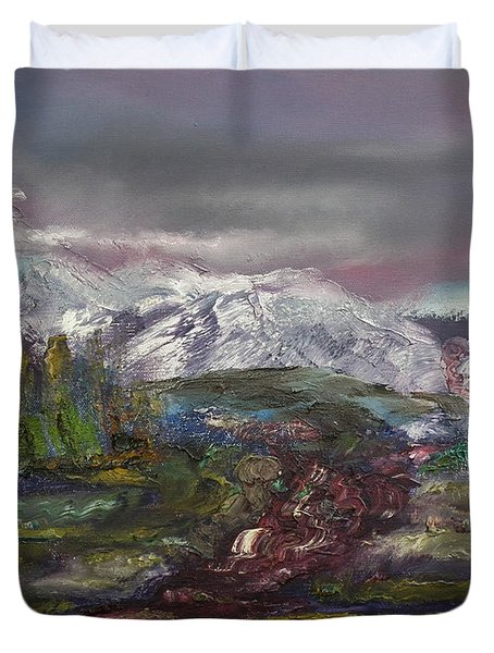 Duvet Cover featuring the painting Blurred Mountain by Jan Dappen