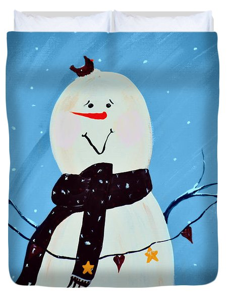 Blushing Snowman Duvet Cover by Chastity Hoff