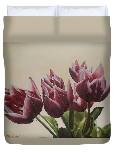 Blushing Tulips Duvet Cover by Cherise Foster