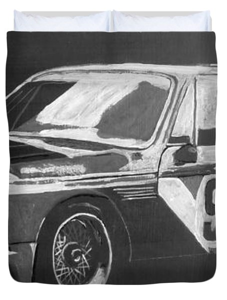 Duvet Cover featuring the painting Bmw 3.0 Csl Alexander Calder Art Car by Richard Le Page