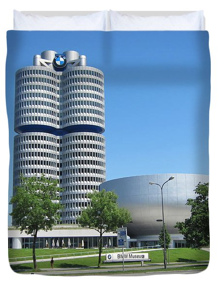Duvet Cover featuring the photograph Bmw Head Quaters by Pema Hou