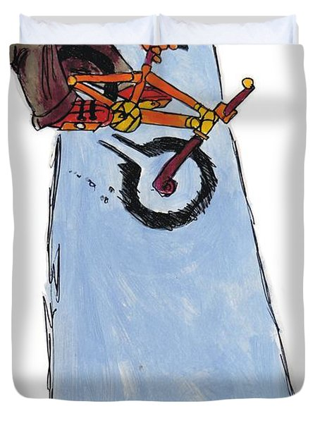 Bmx Drawing Duvet Cover by Mike Jory