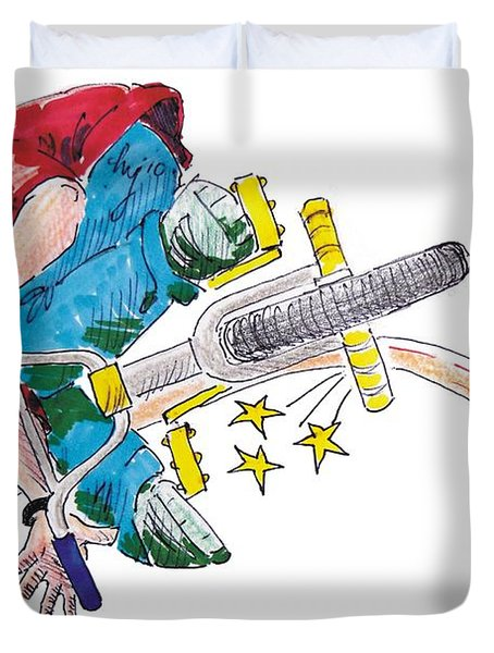 Bmx Drawing Peg Grind Duvet Cover by Mike Jory