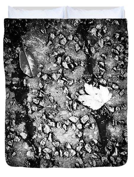 Leaves In The Wet Black 'n' White Duvet Cover by Jason Michael Roust