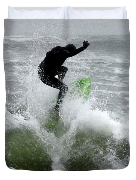 Boardskimming - Into The Surf Duvet Cover by Kim Bemis
