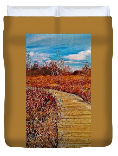Duvet Cover featuring the photograph Boardwalk by Daniel Thompson