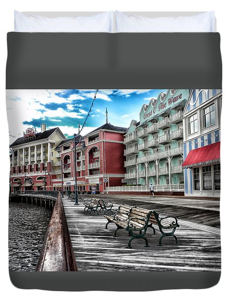 Boardwalk Early Morning Duvet Cover by Thomas Woolworth
