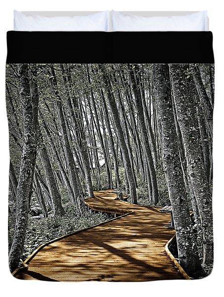 Boardwalk In The Woods Duvet Cover