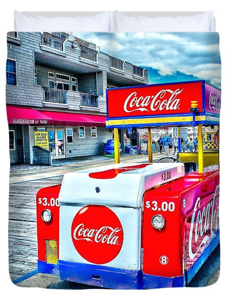 Boardwalk Tram  Duvet Cover by Nick Zelinsky