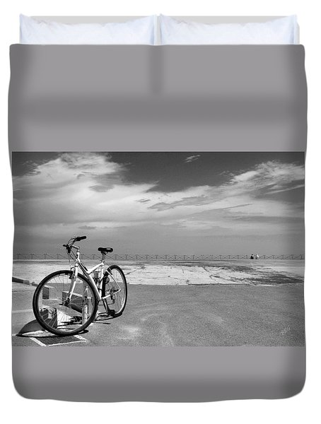 Boardwalk View With Bike In Antibes France Black And White Duvet Cover by Ben and Raisa Gertsberg