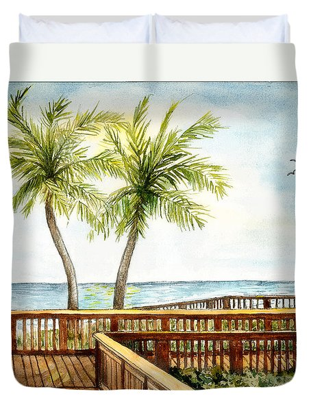 Boardwalk With Two Palms Duvet Cover