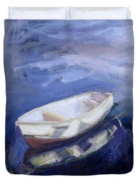 Boat And Buoy Duvet Cover by Sue Jamieson