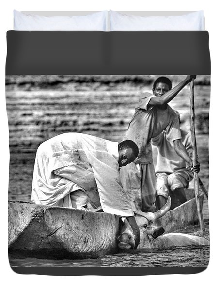 Boat And Cow  Duvet Cover