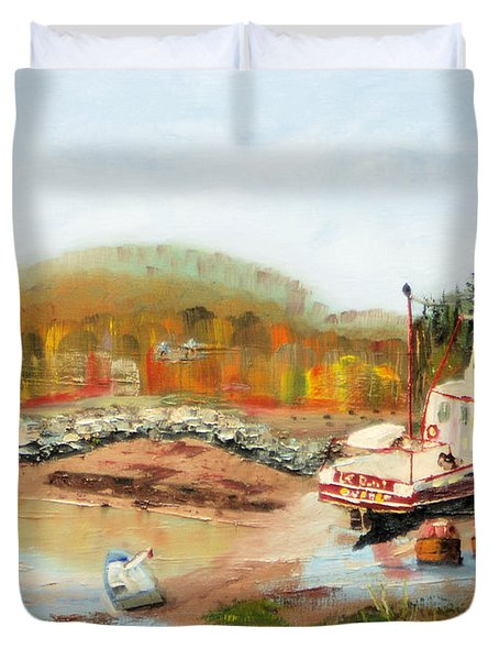 Boat At Bic Quebec Duvet Cover by Michael Daniels