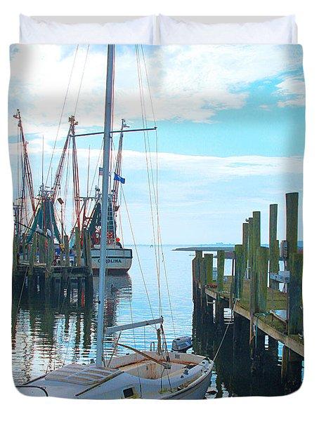 Boat At Dock By Jan Marvin Duvet Cover
