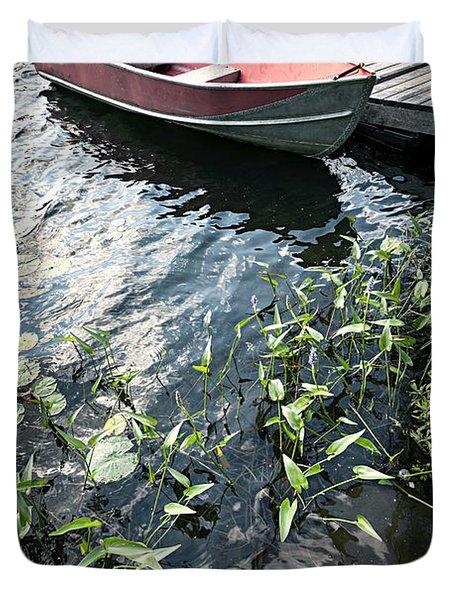 Boat At Dock On Lake Duvet Cover by Elena Elisseeva