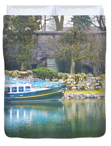 Boat At Landing Stage Duvet Cover