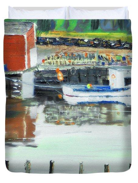 Boat At Louisburg Ns Duvet Cover