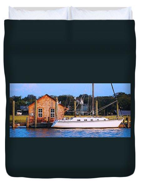 Boat At Shem Creek By Jan Marvin Duvet Cover