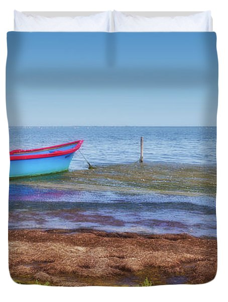 Boat At The Pond Duvet Cover