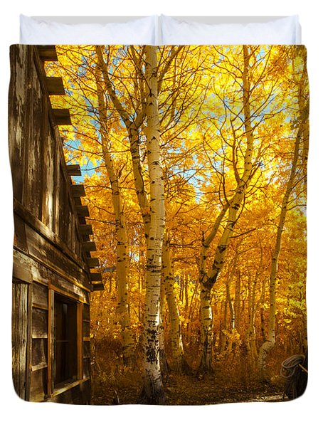 Boat House Among The Autumn Leaves  Duvet Cover by Jerry Cowart