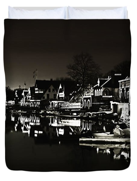 Boat House Row - In The Dark Of Night Duvet Cover by Bill Cannon