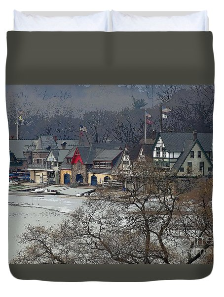 Philadelphia's Boat House Row  Duvet Cover by Cindy Manero
