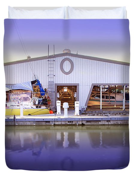 Duvet Cover featuring the photograph Boat House by Sonya Lang