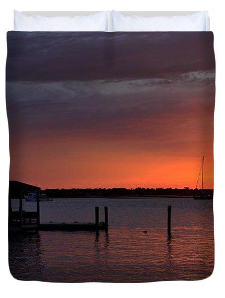 Boat House Sunset  Duvet Cover
