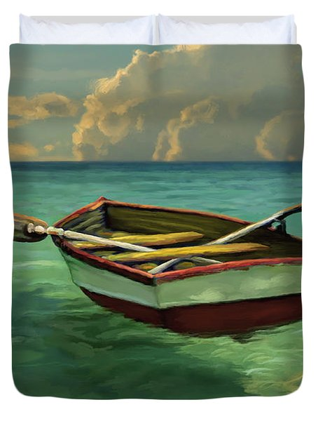 Boat In Clear Water Duvet Cover