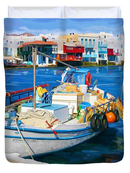 Duvet Cover featuring the painting Boat In Greece by Tim Gilliland