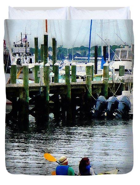 Boat - Kayaking In Newport Ri Duvet Cover
