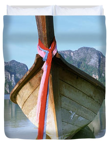 Boat Moored In The Water, Phi Phi Duvet Cover