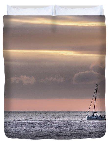 Boat Mooring Off Nairn Beach Duvet Cover