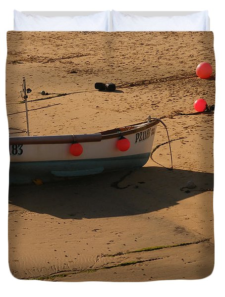 Boat On Beach 04 Duvet Cover by Pixel Chimp
