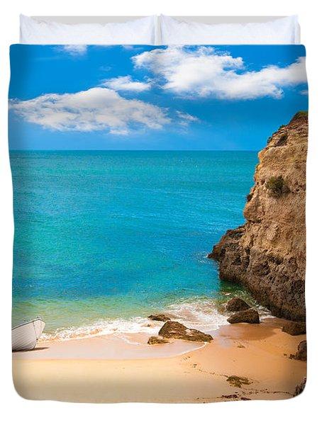 Boat On Beach Algarve Portugal Duvet Cover by Amanda Elwell